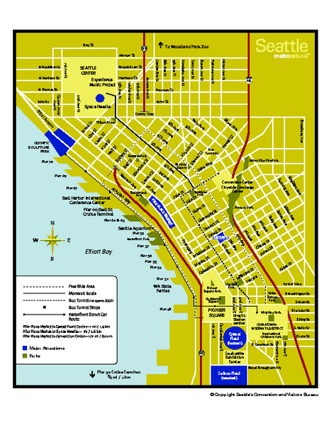 Seattle Street Map Pdf Downtown Seattle Washington Map Seattle