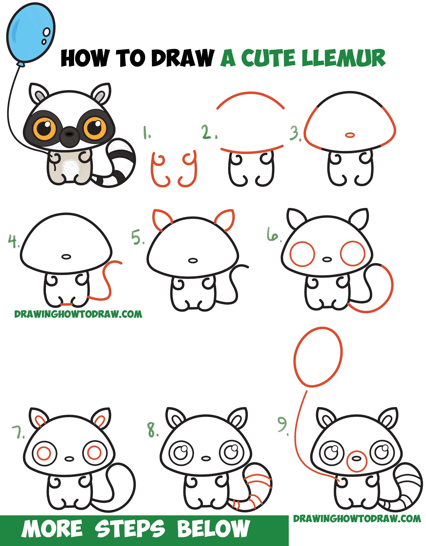 How to Draw a Cute Cartoon Lemur (Kawaii / Chibi) with ...