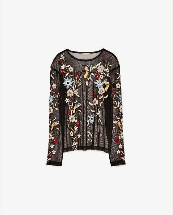 4bc7c54c Image 8 of EMBROIDERED TULLE T-SHIRT from Zara | fashion-y fashion ...