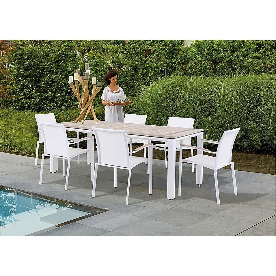Bellini Home And Gardens 7 Piece Manchester Outdoor Dining Set In White Outdoor Dining Set Patio Dining Set Outdoor Dining