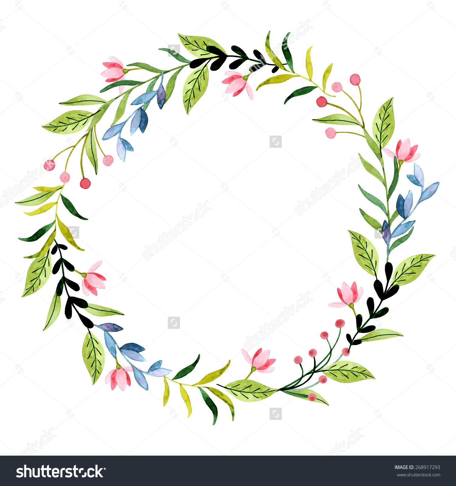 Vector watercolor flowers wreaths with space for your text. Wedding ...