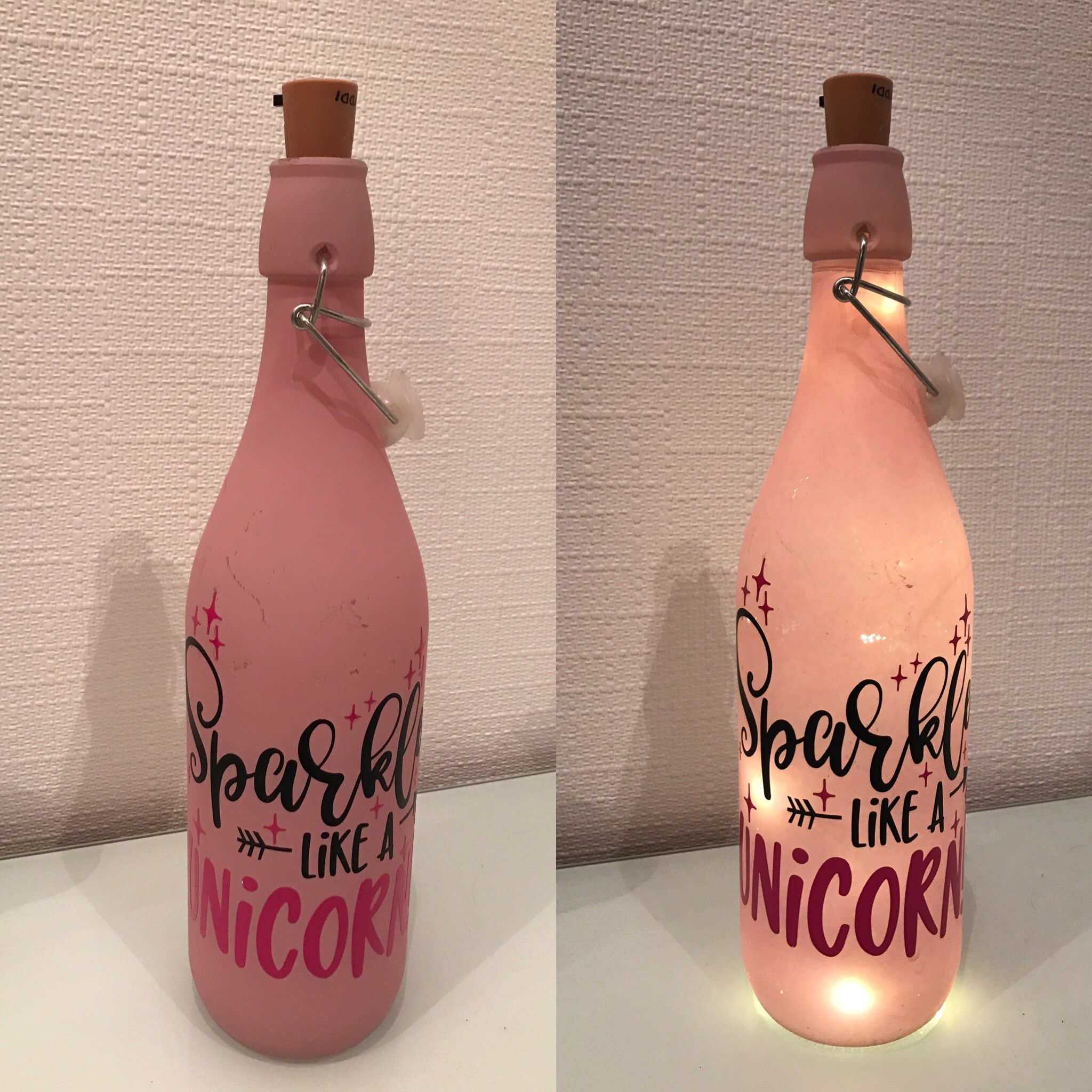 Beleuchtete Flasche Flaschenlampr Plotter Sparkle like a Unicorn ...