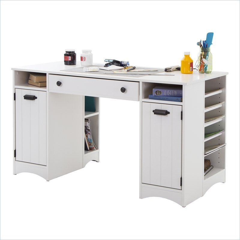 South Shore Artwork Craft Table With Storage In Pure White Craft Tables With Storage Craft Table Desk Storage