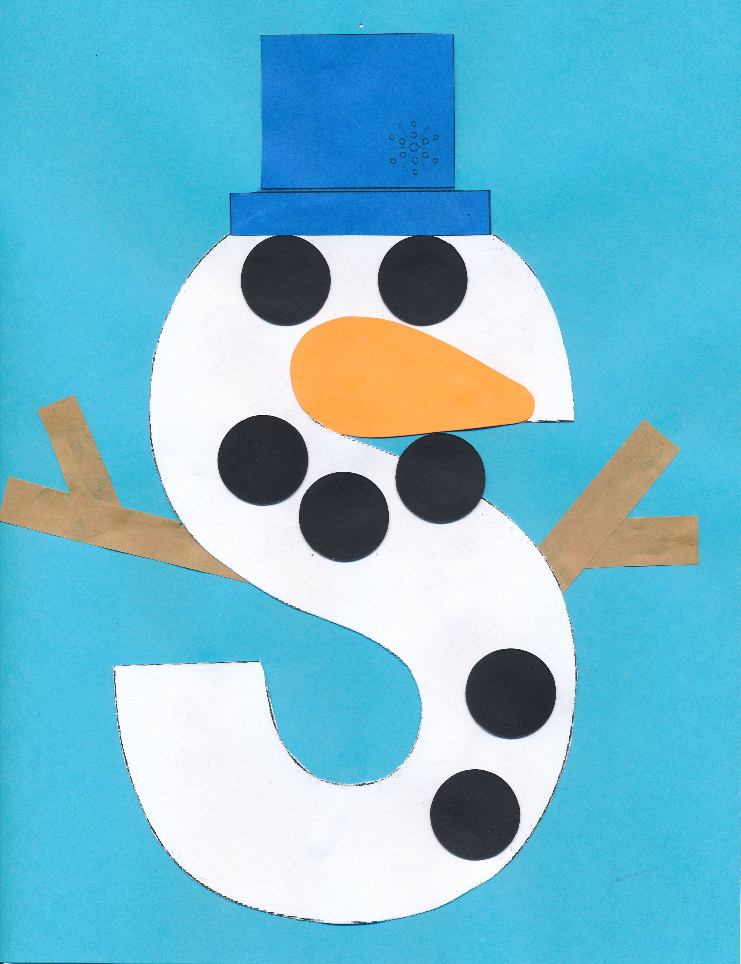 Letter S Snowman From Khcpl Russiaville Craft Program