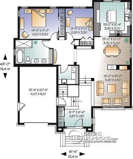 Détail du plan de Maison unifamiliale W3449 House plans