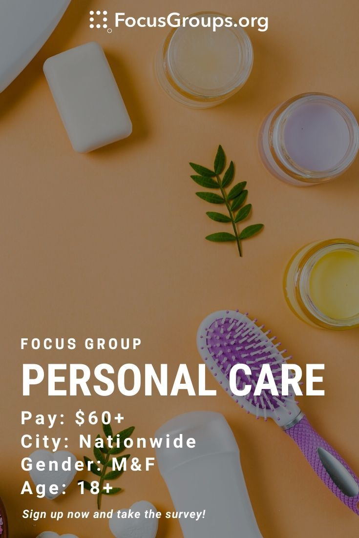 Focus group on personal care in 2020 focus group focus