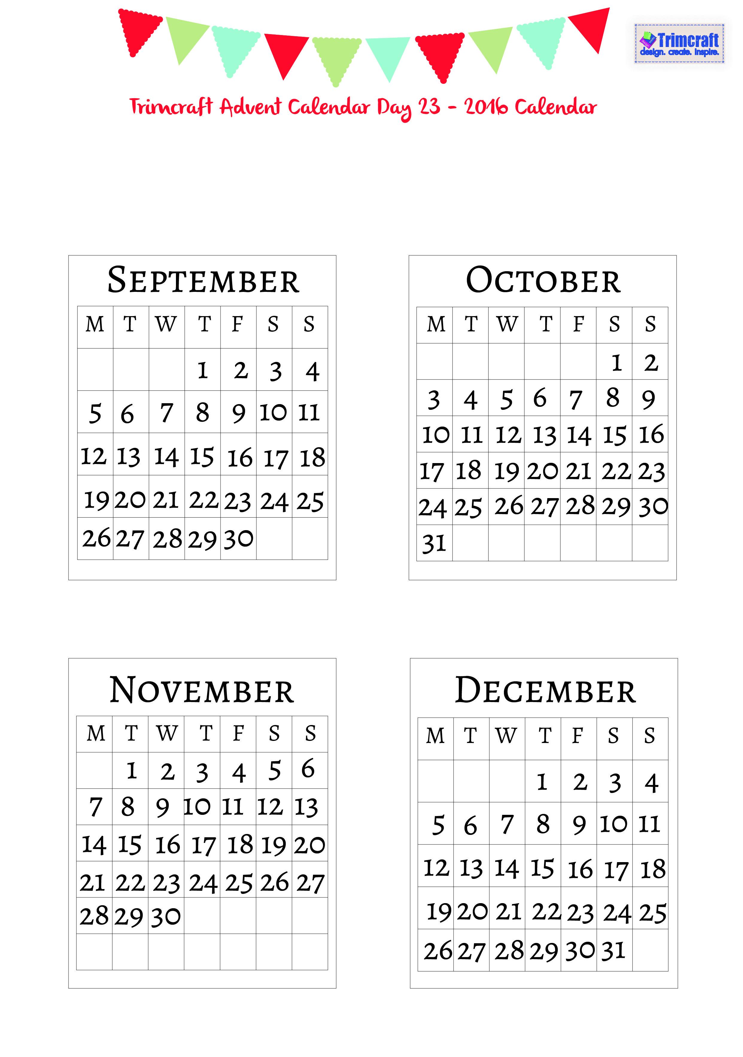 Trimcraft Advent Calendar Day 23 Free 2016 Calendar Template