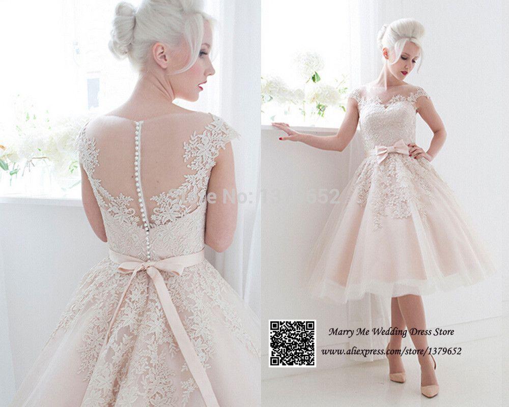 Pink Tea Length Lace Wedding Dresses