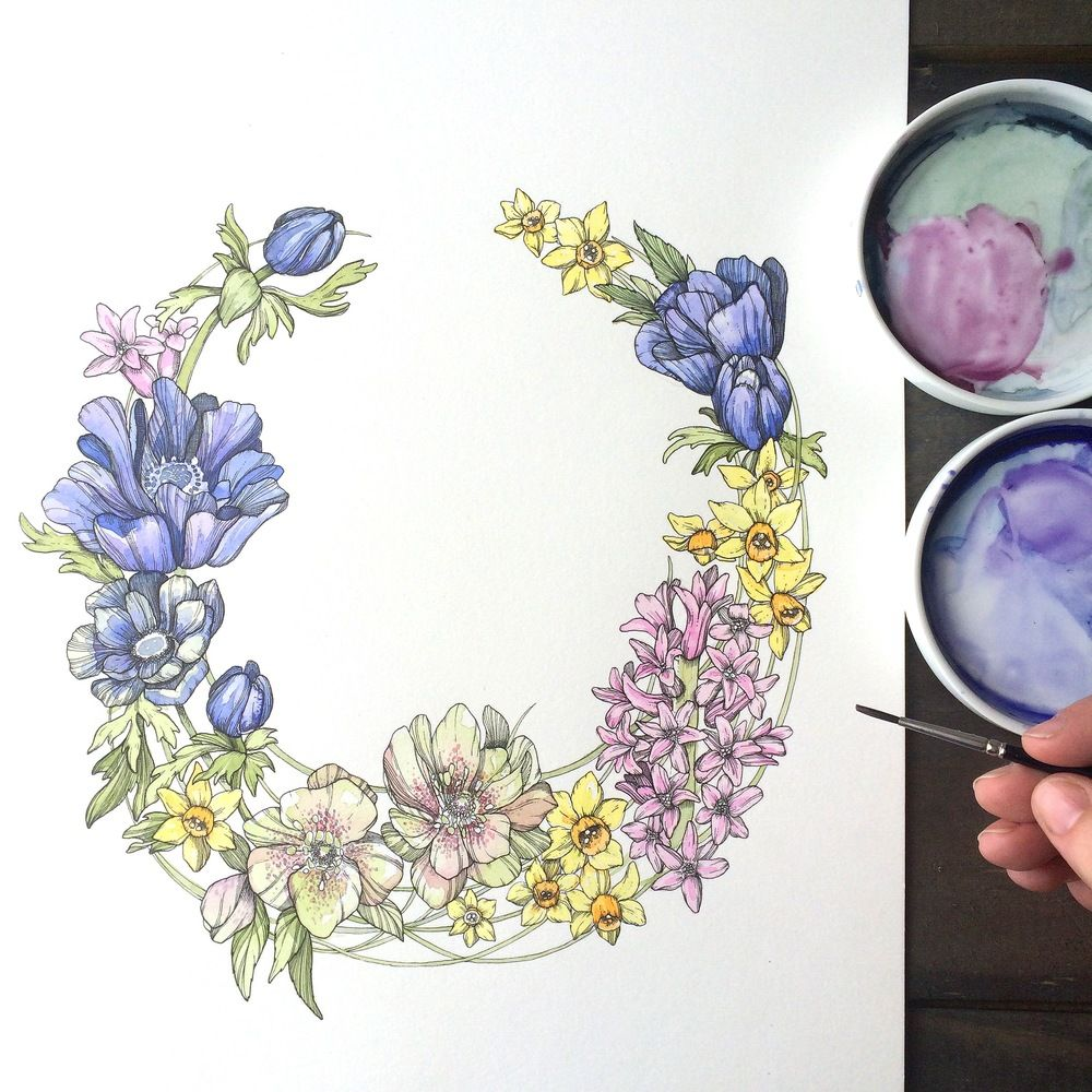 Drawing a Day from Abigail Bell - Your Daily Petal... Day Five - Springtime Garland.