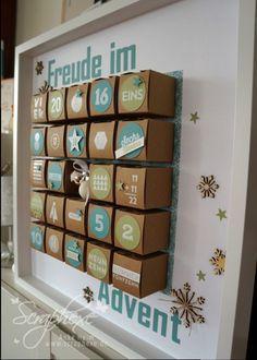 adventskalender mit viel liebe selbstgemacht aus kleinen kartongs verschieden gestaltet. Black Bedroom Furniture Sets. Home Design Ideas