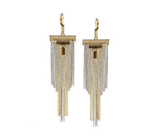 These art-deco inspired fringe earrings make a serious statement with mixed-metal details.