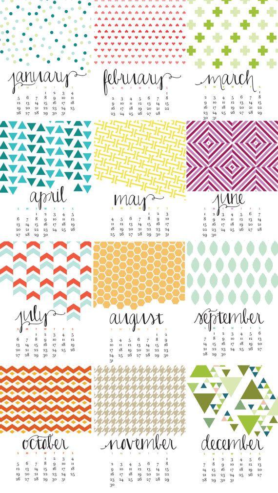 Holiday Calendar Design : Monthly wall calendar bold modern colorful