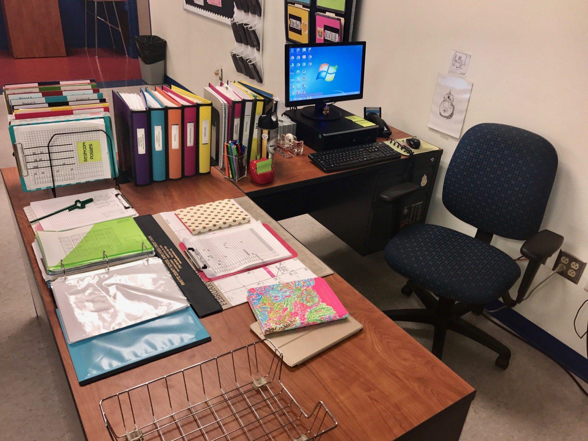 The Organized Teacher Classroom Organizing Teacher Desk Organization Teacher Desk Areas Teacher Desk