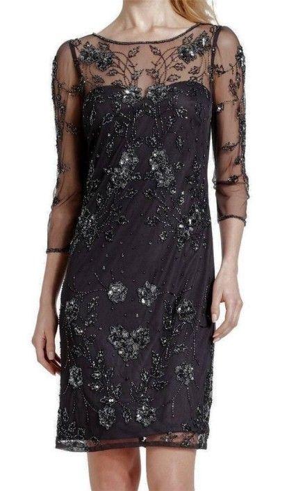 Patra Floral Illusion Beaded Sheath Holiday Dress Special