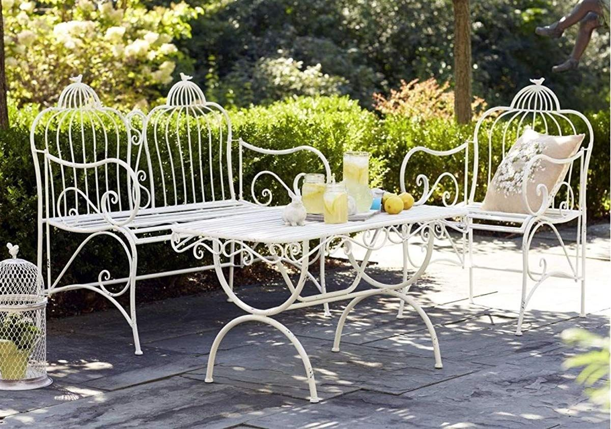 Outdoor White Bird Cage Garden Bench  Wrought iron patio set