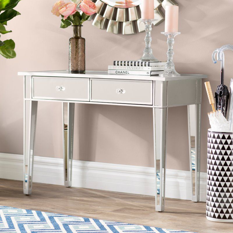 Kylie 2 Drawer Console Table In 2020 Glass Vanity Table
