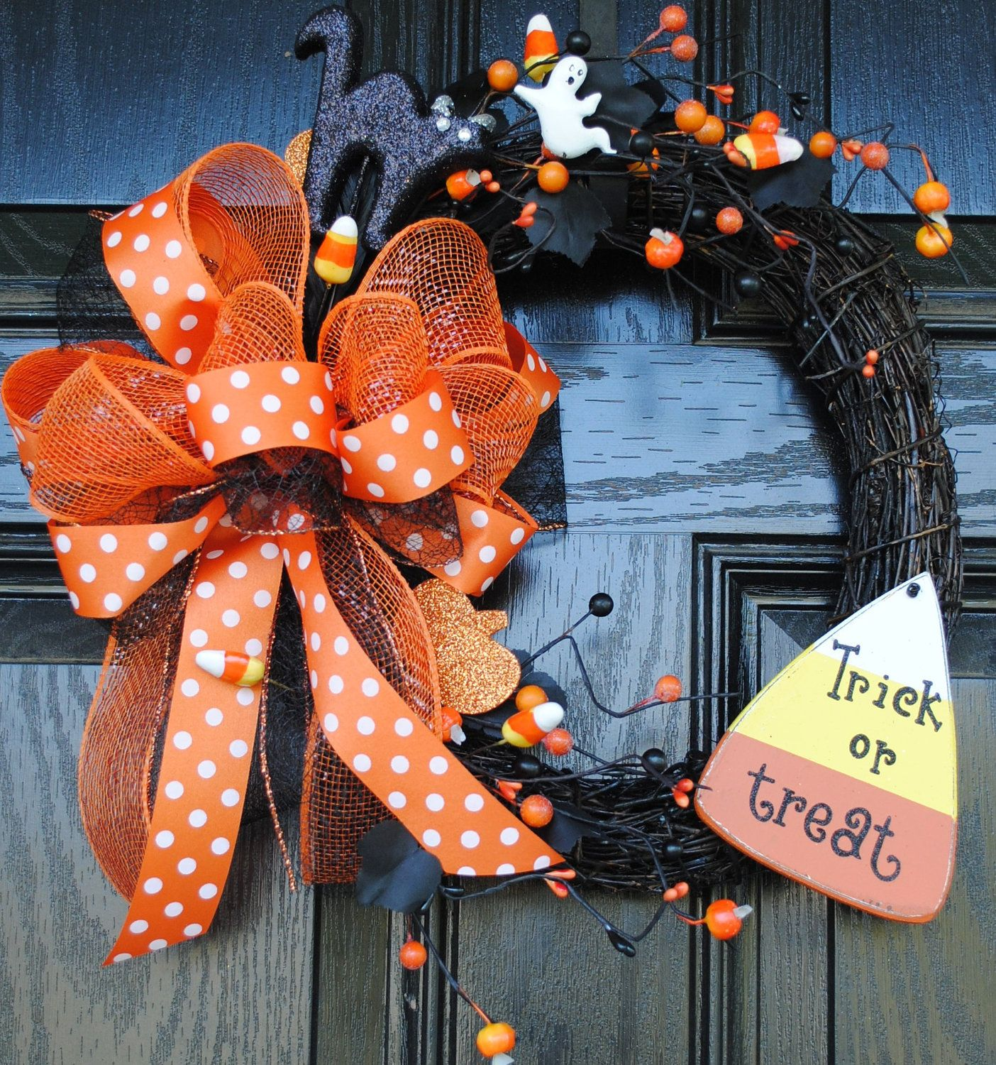 Halloween Wreath Fall Wreath Candy Corn, would make main wreath with black  wire mesh.