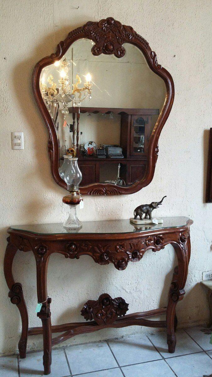 antigua coqueta y espejo luis xv tallada en madera de