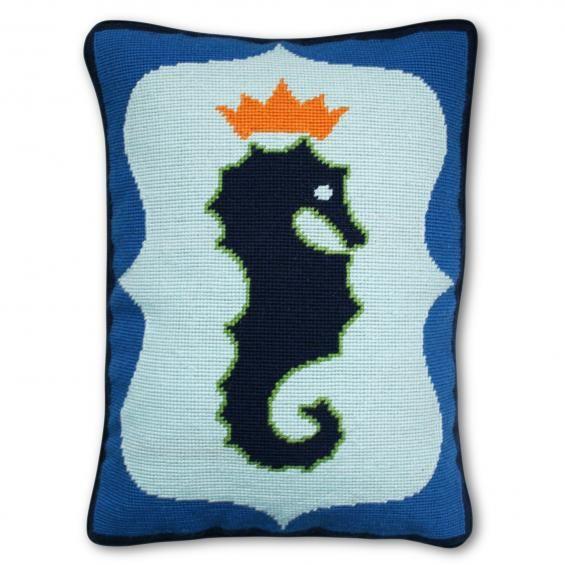 Needlepoint seahorse pillow