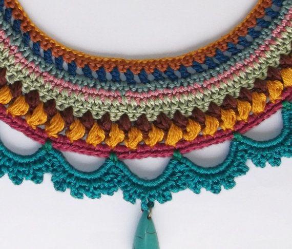statement necklace/ crochet necklace/ blue by laviniasboutique