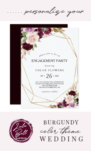 Gold Blush Burgundy Floral Engagement Party Invitation | Zazzle.com #dressesforengagementparty