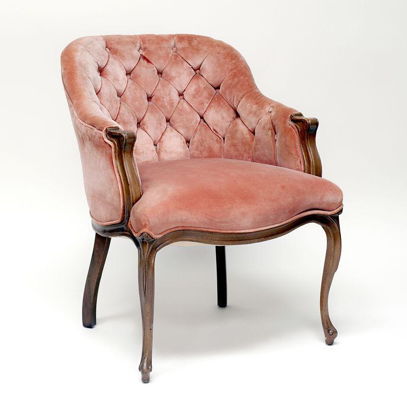 Eva blush chair peachypink velvet buttontufted ladies
