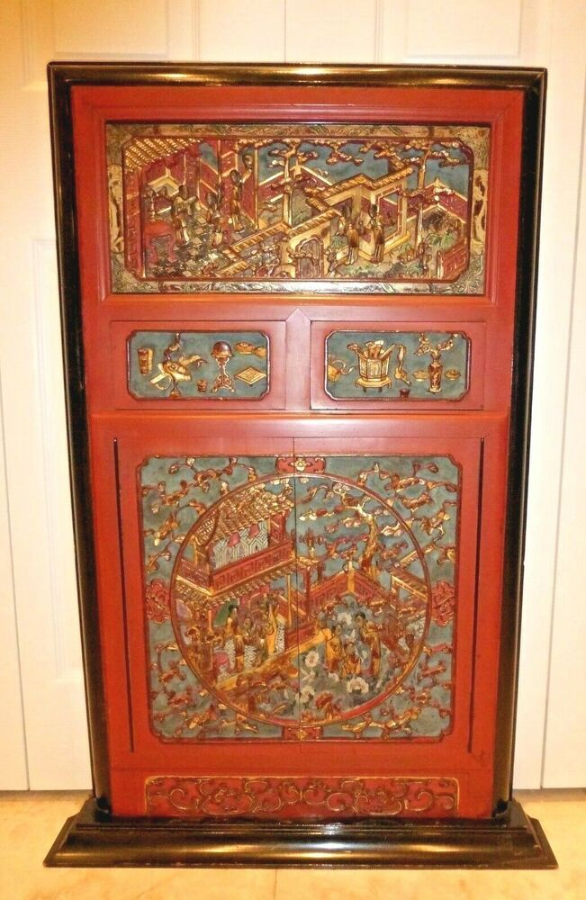 #Antique Chinese Massive & Intricately Carved Gold Gilt Wood Panel Wall Art in 2019 | Wood panel ...