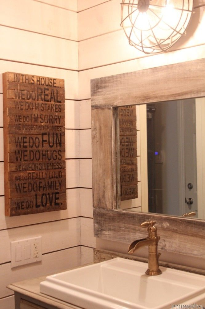 Farm House Style Bathroom With Ship Lap Walls Weathered Wood Mirror Industrial Light And A Dresser Hacked Into Vanity YUM