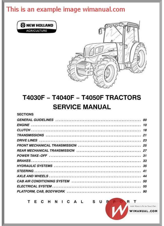 New Holland T4030f T4040f T4050f Tractors Service Manual