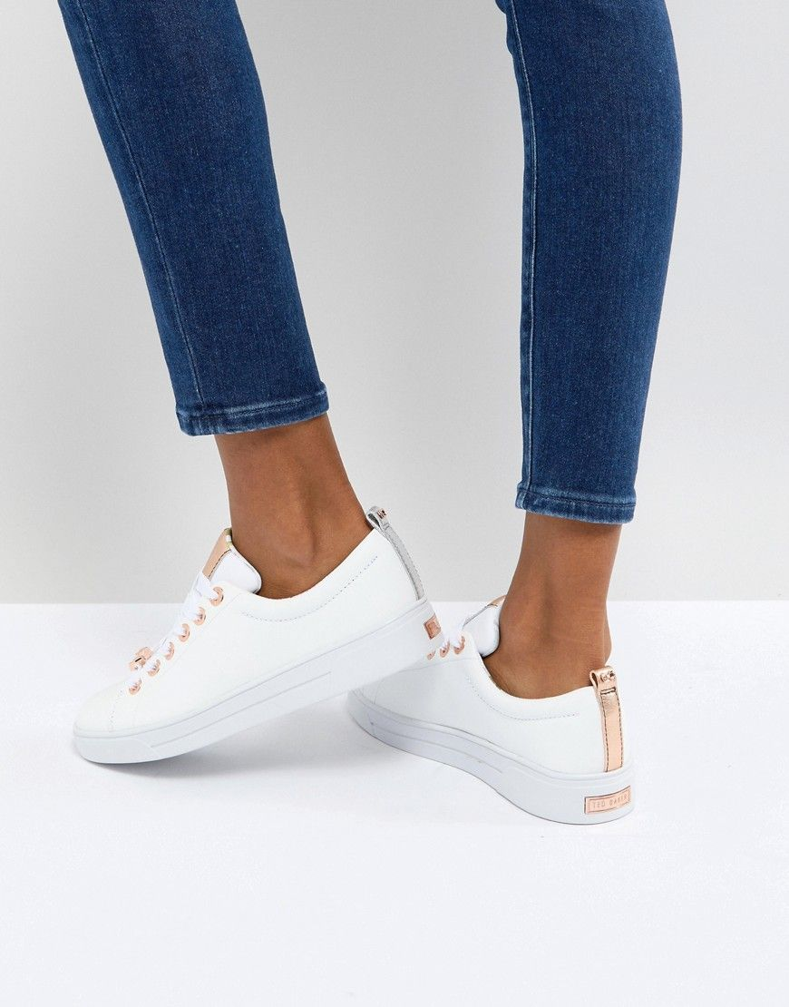 8d4e845160fa TED BAKER KELLEI WHITE LEATHER SNEAKERS - WHITE.  tedbaker  shoes ...
