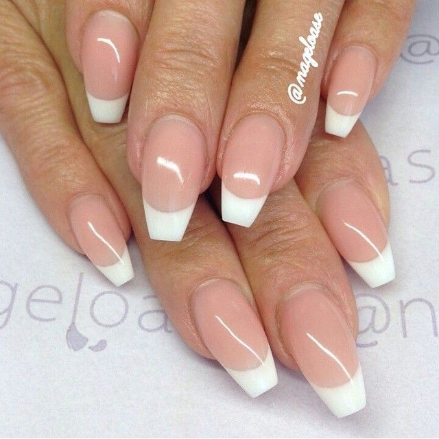 French Manicure Coffin Coffin Shape Nails French Tip Acrylic Nails Short Coffin Nails