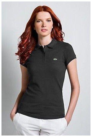 polos pas cher ralph lauren! Boutiques de Polo Lacoste Femmes revers court  T Shirt noir en ligne france db3e792c9c85