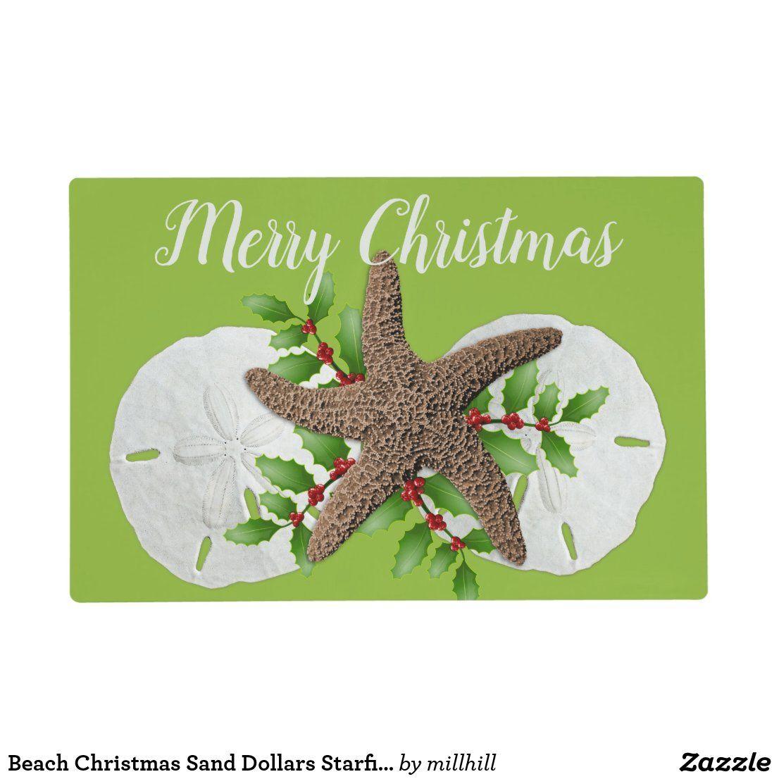 Beach Christmas Sand Dollars Starfish Laminated Placemat Zazzle Com Beach Christmas Christmas Placemats Custom Placemats
