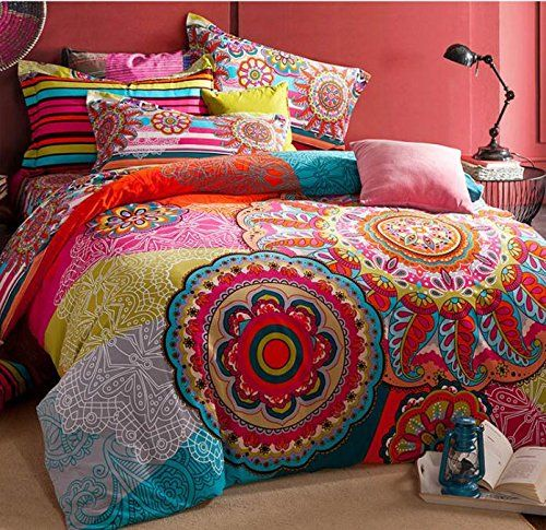 Bohemian Style 4 Piece Printed Cotton Bedding Duvet Covers Set Queen Pattern2 Queen Bedding Sets Boho Bedding Sets Bohemian Bedding Sets