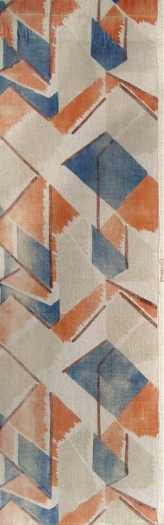 """Printed linen panel """"Maud"""" attributed to Vanessa Bell, manufactured by Besselievre at Maromme, Rouen for Omega Workshops. Named after Omega's patron, Lady Maud Alice Burke Cunard (1872-1948)."""
