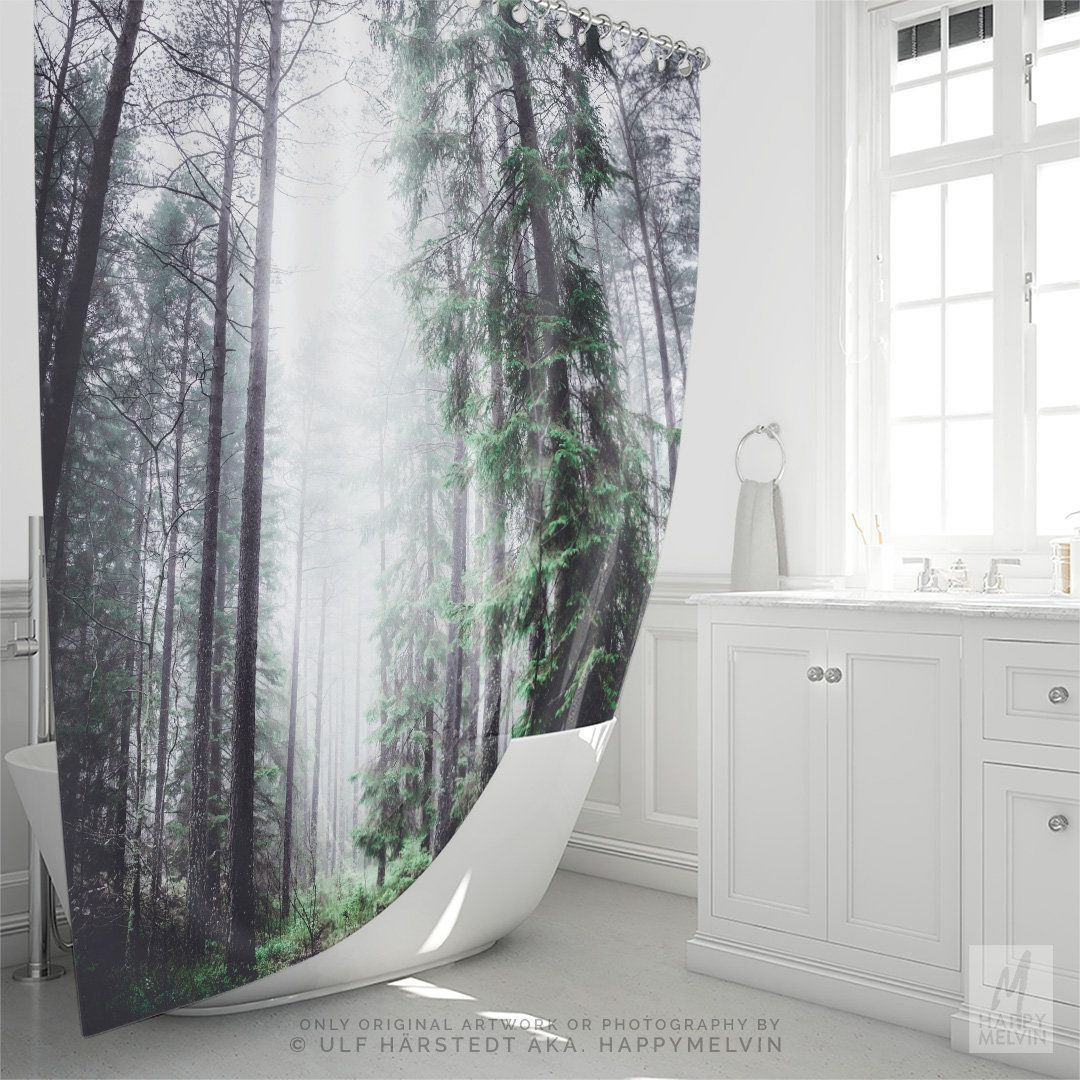 Enchanted Woods Shower Curtain Nature Bath Fog Forest Home Decor Making A Unique Bathroom Statement Made In The USA