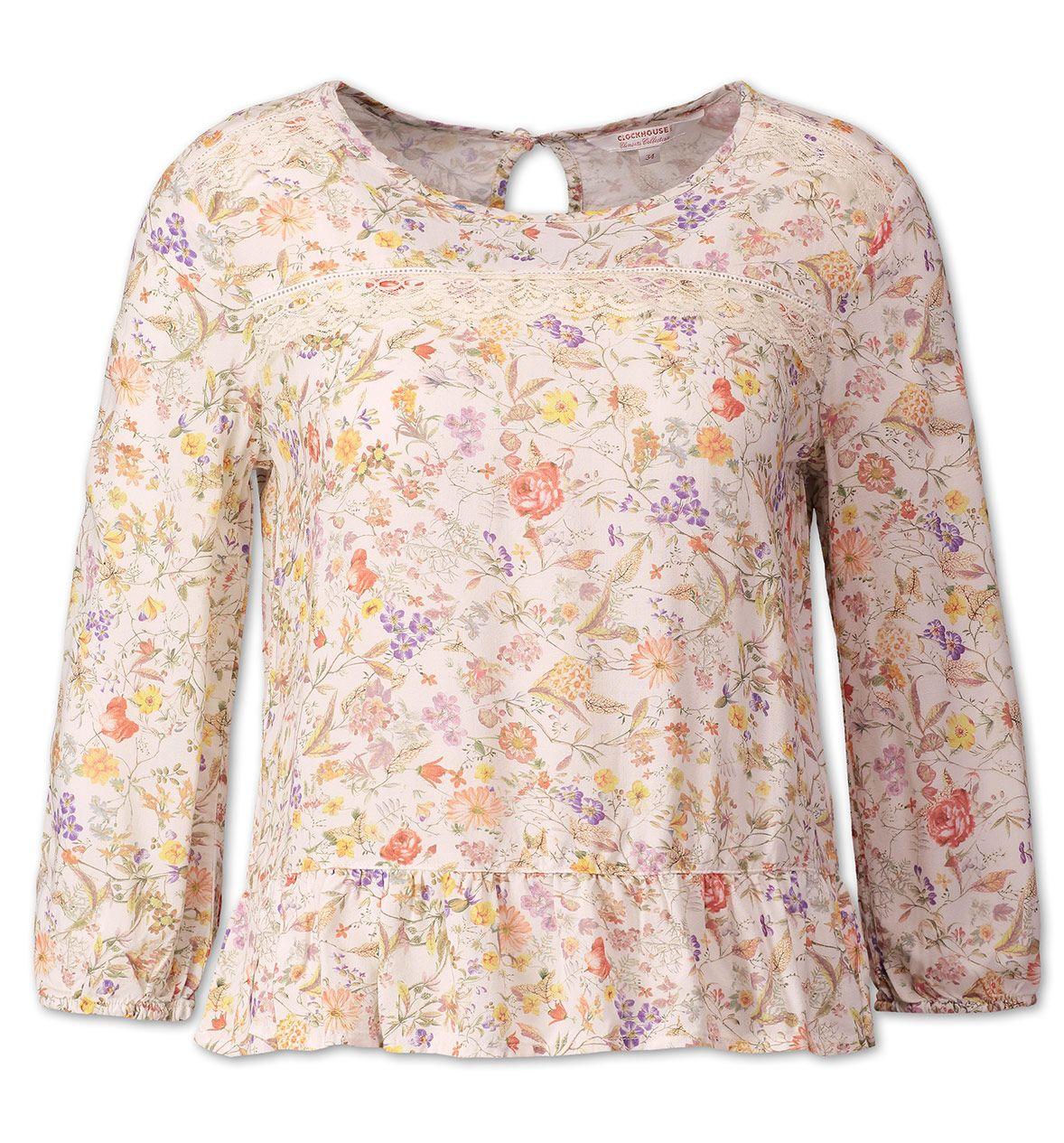 Bluse mit Blumenmuster in cremeweiß