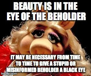 I'll give you a black eye | Funny pictures, Lol, Humor |Happy Sunday Miss Piggy Memes