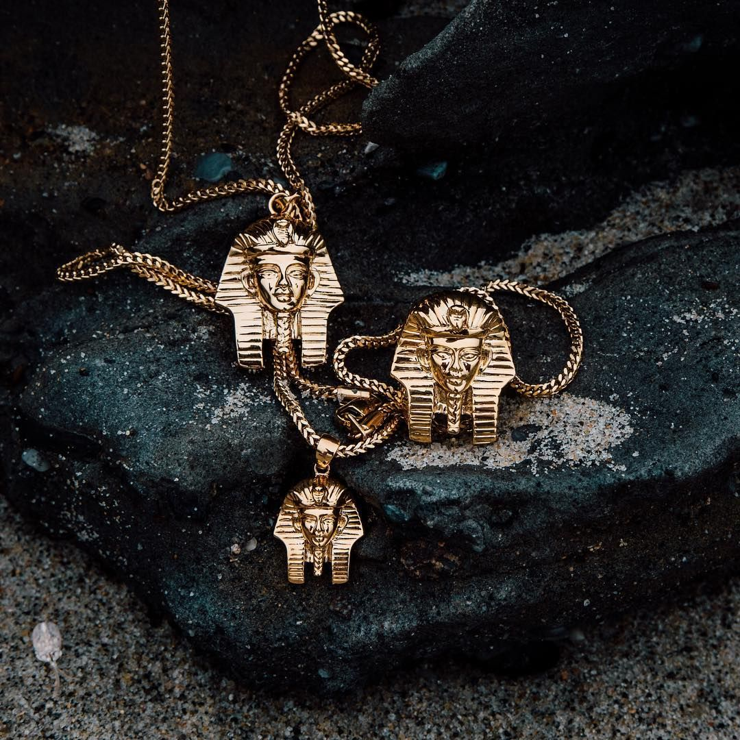 You can find our iconic Pharaoh Head on over 10 products in the online shop. Which will you choose?  pieces starting at $39 | thegoldgods.com #thegoldgods #pharaoh #goldjewelry #goldchains #mensjewelry