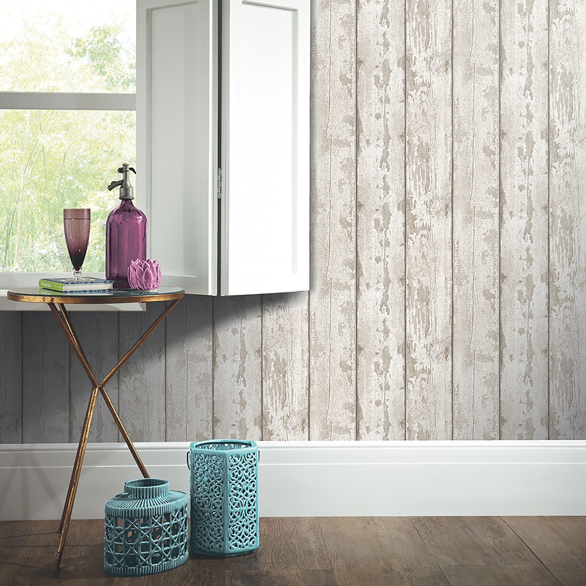 Arthouse White Washed Wood Paper Strippable Wallpaper Covers 57 Sq Ft 694700 The Home Depot Wood Wallpaper Whitewash Wood Wood Effect Wallpaper
