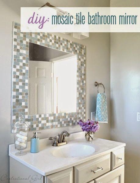 Diy espejo de mosaico para el cuarto de ba o en 2019 - Cenefas para espejos ...
