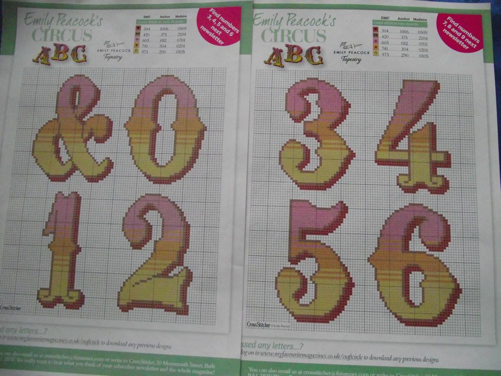 EMILY PEACOCK S BEAUTIFUL COLOURED CIRCUS FONT NUMBERS 0-6 CROSS STITCH CHART
