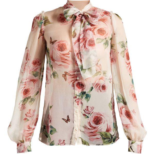3e861f9e9cea58 ... free shipping dolce gabbana rose print tie neck chiffon blouse 15 110  zar 5d1c2 a4a89 ...