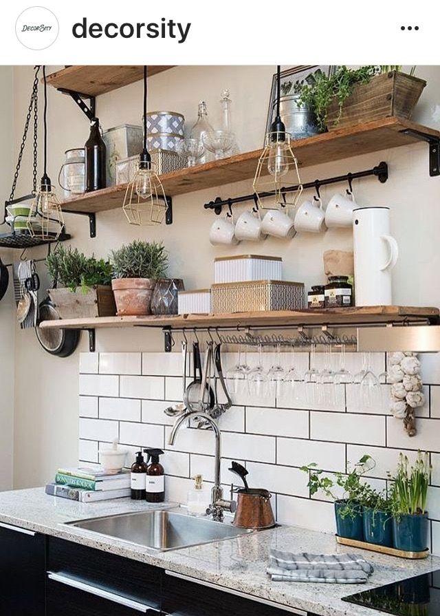 Open Shelves Shelf Kitchen Wooden Ikea Small Rustic