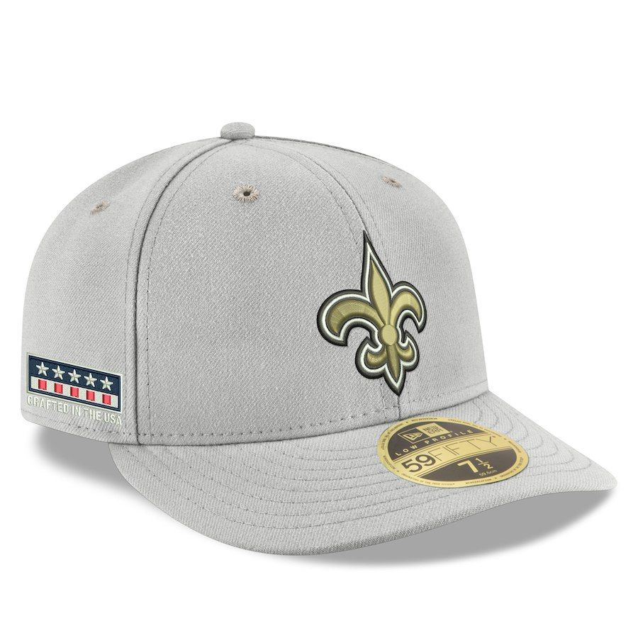 1b8e24eef27b4 Men s New Orleans Saints New Era Gray Crafted in the USA Low Profile 59FIFTY  Fitted Hat