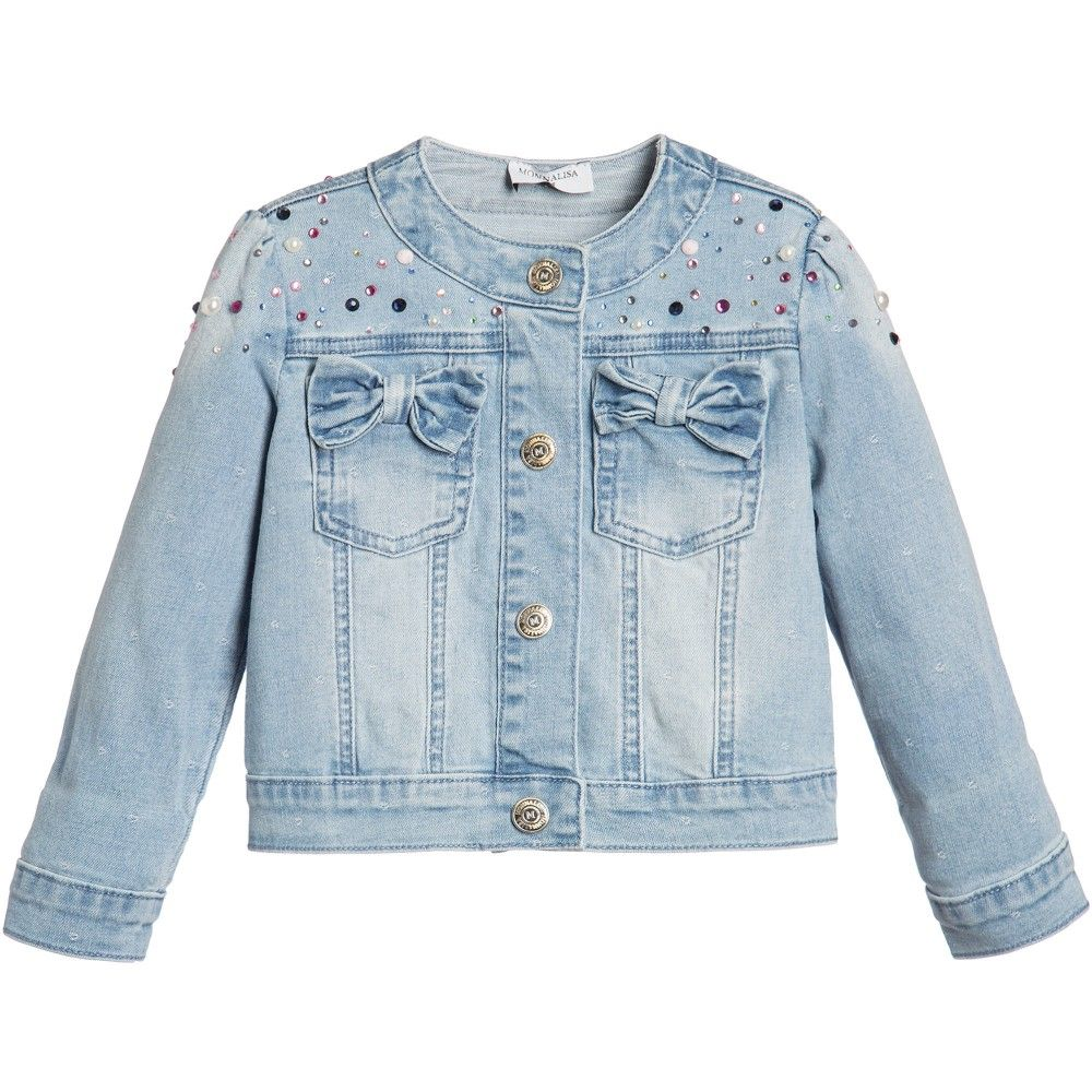 Girls Blue Denim Jacket with Rhinestones | Blue denim, Denim ...