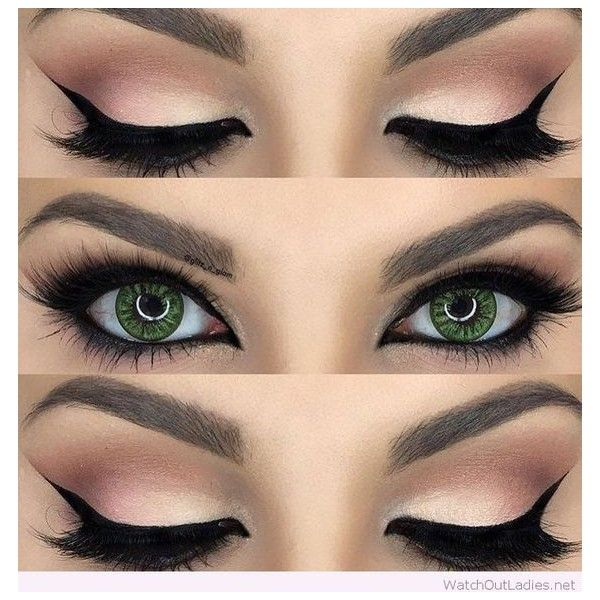 Gorgeous nude and black eye makeup for green eyes ❤ liked on Polyvore featuring beauty products, makeup, eye makeup and beauty