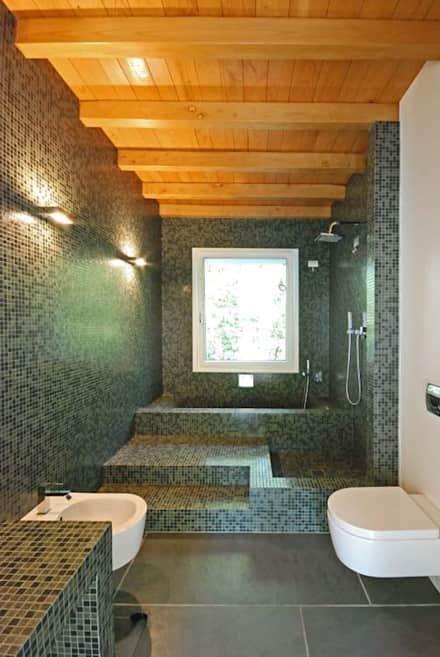 Bagno: Idee, immagini e decorazione | Mattoni, Bagno e Legno