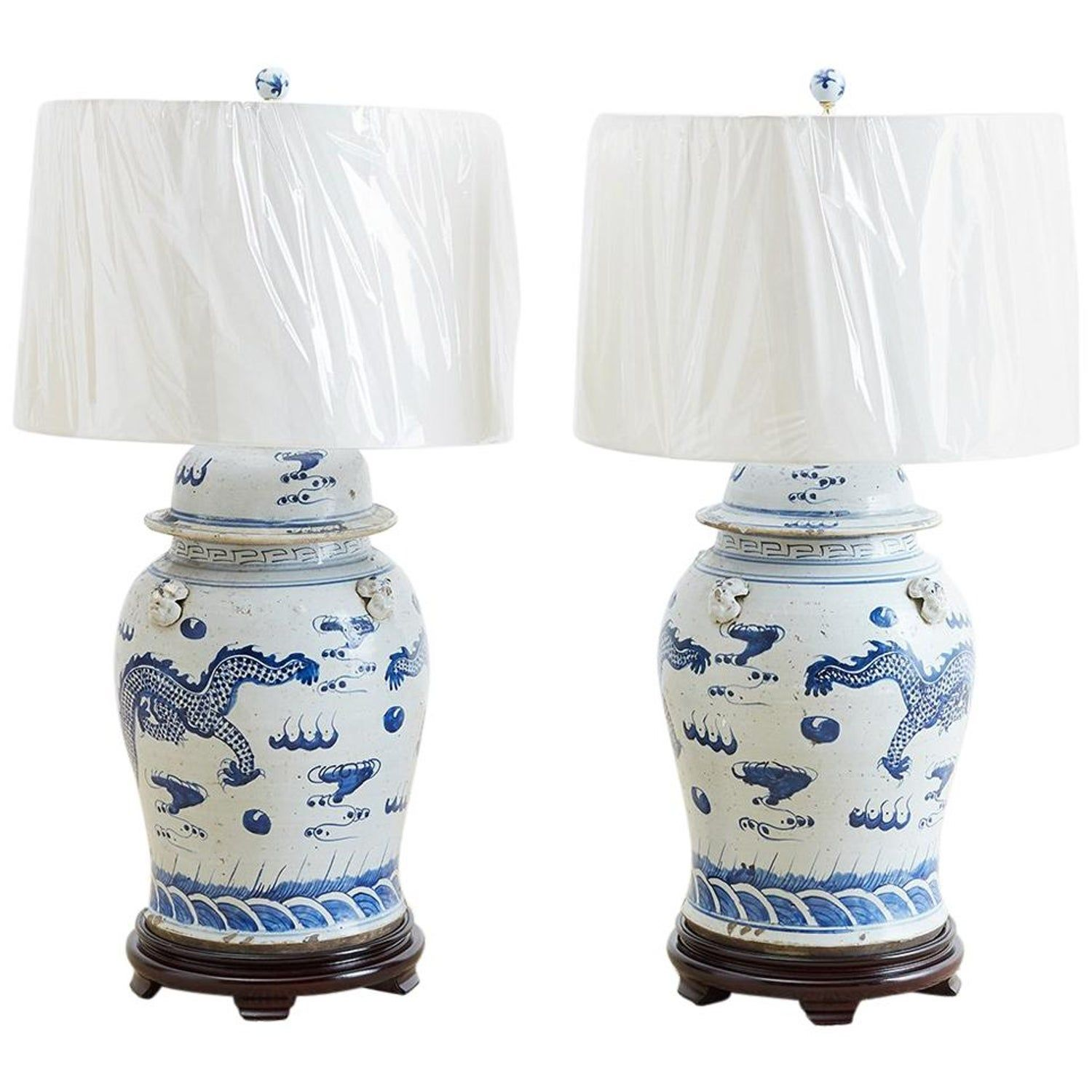 """Blue and White Blue Willow Chinese Porcelain Vase Table Lamp 22/"""""""