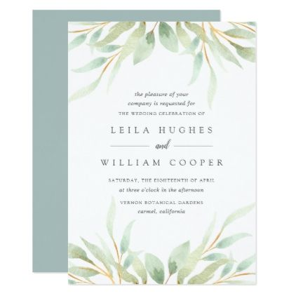 Airy Botanical Wedding Invitation Botanical wedding and Weddings